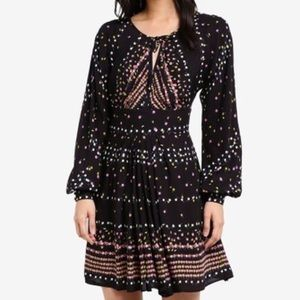 Free People Black Coryn Print long sleeve dress